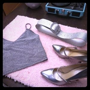 Silver dressy Mary Jane heels